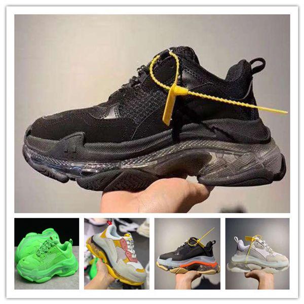 brand paris 3.0 2019 triple s green crystal bottom black dad sneakers kanye luxury designer women shoes casuals men Triple S sport shoes hot