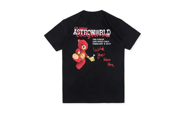 ASTROWORLD TRAVIS Fashion Bear Мужские футболки с буквенным принтом Мужские топы О-Образным вырезом с коротким рукавом Мужские футболки с надписью
