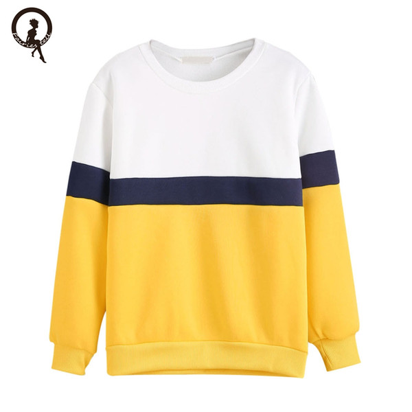 Weiß Blau Gelb Nähte Sweatshirt Frauen Rundhals Langarm Lässige Sweatshirt Pullover Tops moletom tumblr bts # SYS