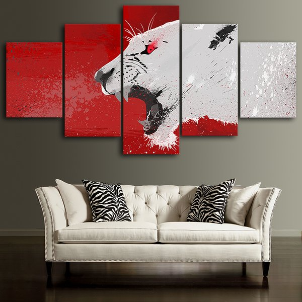 Canvas Posters Home Decor Wall Art Framework 5 Pieces Abstract Red Lion Paintings For Living Room HD Prints Animal Pictures