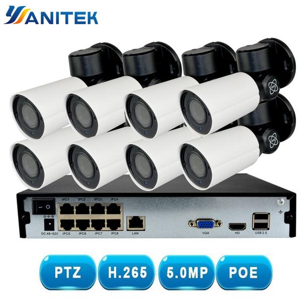 8CH H.265 PTZ 5.0MP POE 4X Zoom NVR Kiti CCTV Sistemi IP Kamera Açık Su Geçirmez Video Güvenlik Gözetleme Seti Gece Görüş