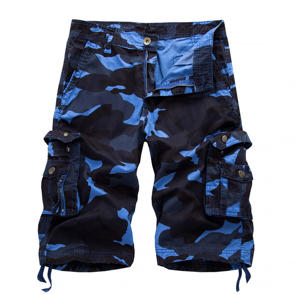 2019 Camo militar Pantalones cortos de carga Camuflaje de moda de verano Multi-bolsillo Homme Army Shorts casuales Bermudas Masculina Plus tamaño 40
