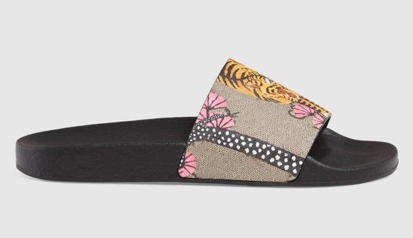 Designer Gummi Rutsche Sandale Floral Brocade Männer Slipper Gear Bottoms Flip Flops Frauen Gestreiften Strand Kausal Mit Box Berühmte Marken Schuhe A2