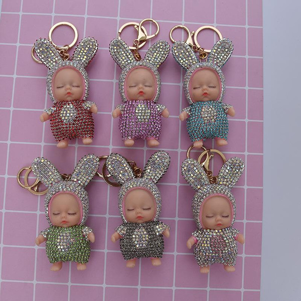 Sleeping Baby Doll Keychain Porte-clés strass voiture Porte-clés Porte-clés femmes sac pendentif Accessoires charme