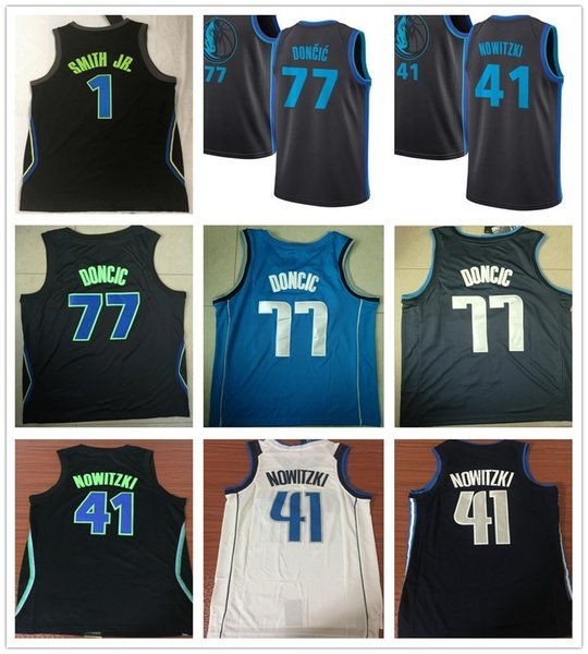 the latest b685a f8892 2019 New City Edition Navy Blue 41 Dirk Nowitzki Jersey White Black  Sportswear 1 Dennis Smith Jr. 77 Luka Doncic Jerseys Breathable Shirt From  ...