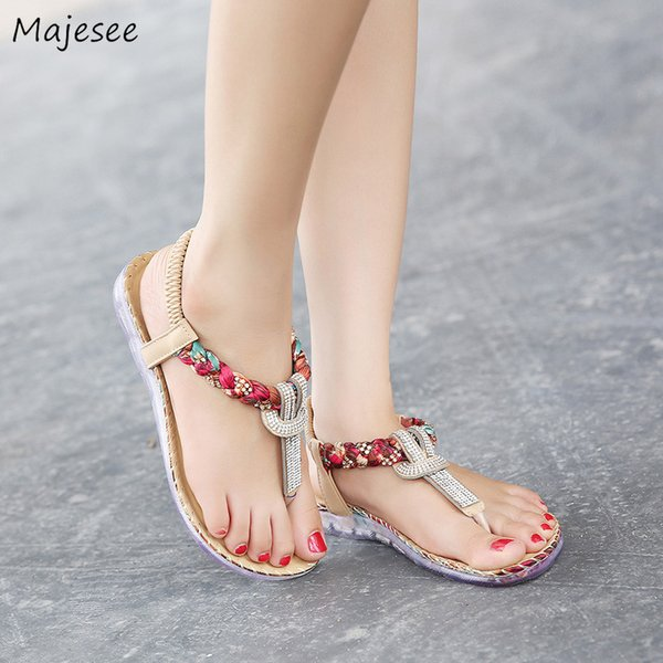 Sandals Women Bohemian Crystal Flat with Simple Plus Size Trendy Womens Slip-on High Quality Shoes Female Lightweight Outside
