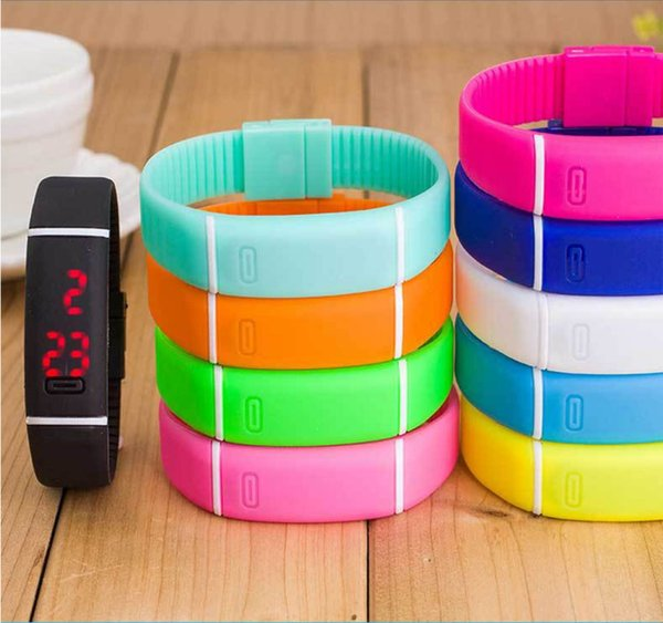 LED watch Silicone strap Rubber wrist Digital watch for woman man Boys Girls sport waterproof watch 10 colour