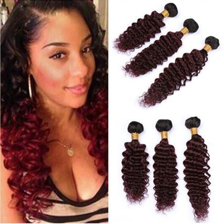 #1B/99J Wine Red Ombre Deep Wave Human Hair 3Bundles Black Roots Burgundy Ombre Brazilian Virgin human Hair Weave Wefts Deep Curly Wave