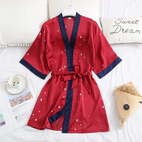273aef07a87 Satin Women Robes Silk Short Night Kimono Sexy Bathrobe Red Bride  Bridesmaid Robe Fashion Dressing Gown