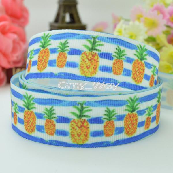 "Lilly Ribbons 7/8"" 22mm Pineapple Printed Grosgrain Ribbon Hair Bow DIY Handmade Crafts Ribbon Print 50Yards C-2527"