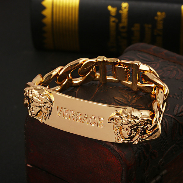 New style cuff hiphop Gold Medusa head Bangle with chain design for men hollow out Logo open pulsera bracelet Fine jewelry
