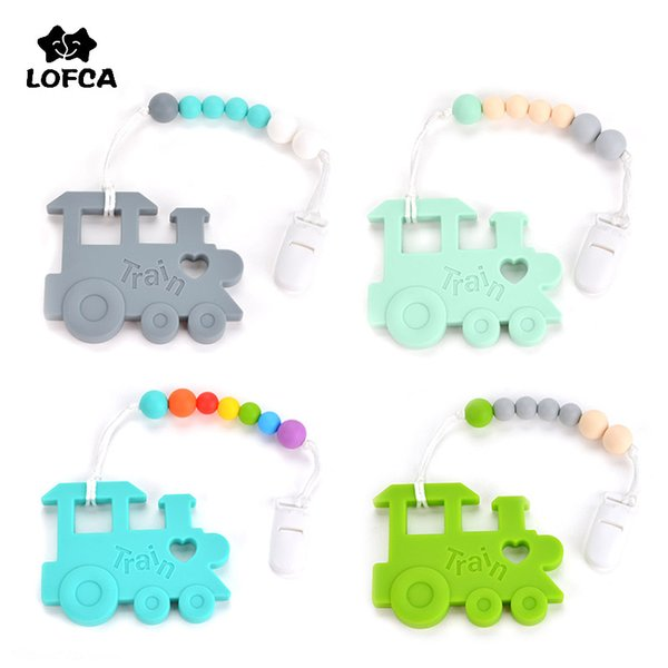 LOFCA Baby Teether Silicone Train Pacifier Chain Baby Teething Toys Pendant  Grade Silicone DIY Jewelry Accessories Necklace