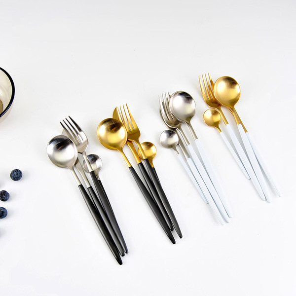 24Pcs/set Dinnerware Set 304 Stainless Steel Black Gold Cutlery Set Knife Fork Set Flatware Tableware Silverware