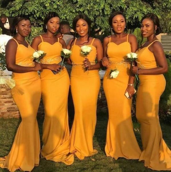 Sereia Africano Árabe Amarelo Dama de Honra Vestidos de Cintas de Espaguete Apliques Cetim Vestidos de Dama de Honra Dama de Honra Plus Size Vestido de Dama de honra