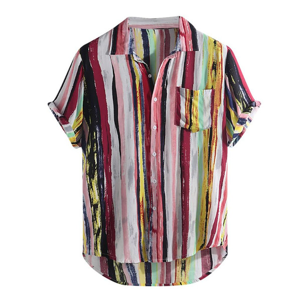 2019 Plus Size Men Cotton Linen Multi Lump Chest Pocket Short Sleeve Round Hem Loose Shirt chemise homme streetwear hawaiian