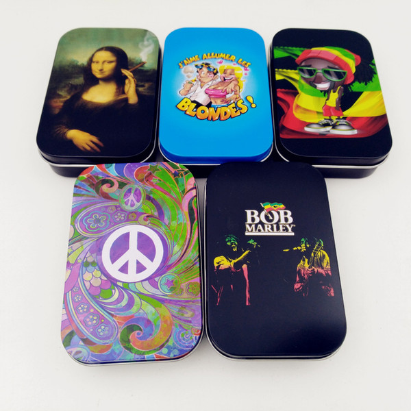 best selling Bob marley Smoking Tobacco Pollen Presser Shaker Pollen Sifter Box New Micro Mesh Stash Can Safe Shaker herb storage box for cigarette