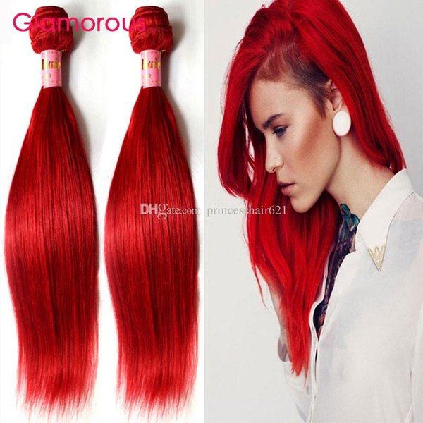 Glamorous Red Hair Extensions Brazilian Straight