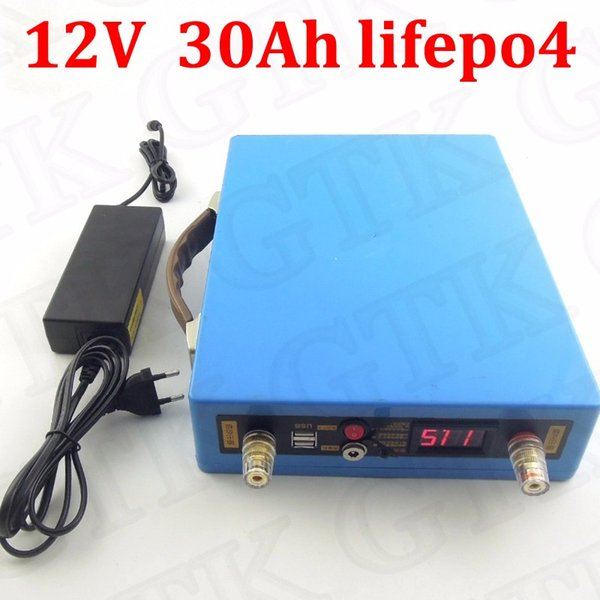 GTK Lifepo4 12v 30ah usb ports for inverter Fish finder LED miner safety light Monitor Portable DVD and VCD player +3A Charger
