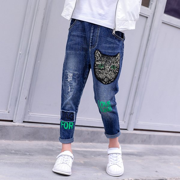 New Fashion Spring Children Blue Stretch Casual Denim Pants Brand Infant Kids Clothing Jeans Trousers Baby Girls Cartoon Cat Sports Leggings