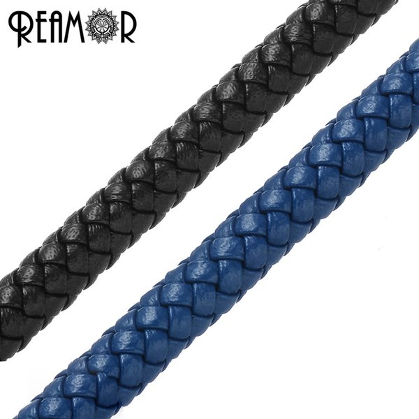 REAMOR 6mm Round Cord Genuine Braided Black & Blue Leather Rope String For Bracelet Jewelry Craft Making DIY Findings Wholesale