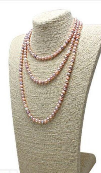 """9-10mm round south sea lavender pink multicolor pearl necklace 48"""" 14k/20 gold"""