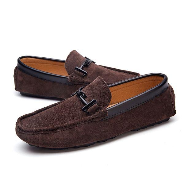 Homens Barco Sapatos Casuais Gommnio Sapatos de Condução Sneakers 2019 Designer De Luxo Lazer Mens Mocassins Para Homens Slip Ons Flats Mans Mocassins Marrom