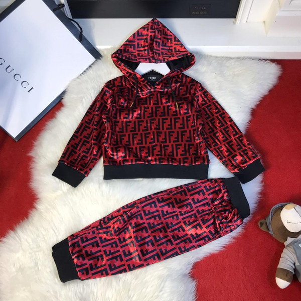 2019 new high quality plus velvet children's long sleeve two-piece suit1909015#0000087