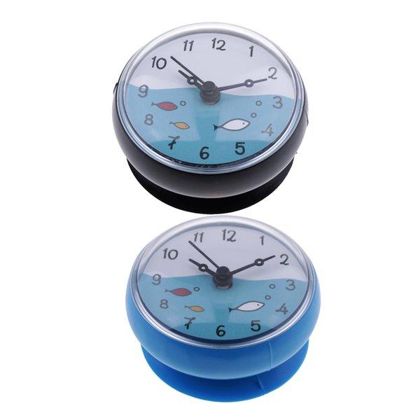 best selling Blue & Black Shower Bathroom Clock Waterproof Washroom Mini Bath Wall Clock