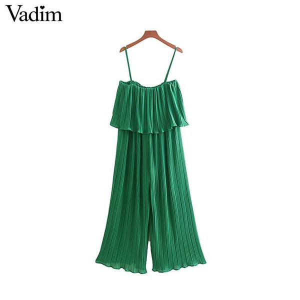 Vadim Women Chiffon Green Pleated Jumpsuits Elastic Waist Ruffles Sleeveless Backless Rompers Female Solid Chic Playsuits Ka615 Y19051601