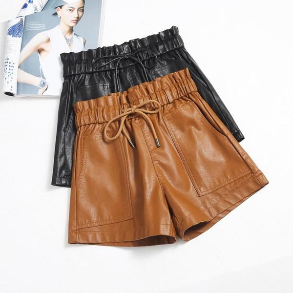 2019 Spring New Korean Style Female Sexy Leather Shorts High Waist Loose Wide Leg Short Casual Femme Elastic Waist Shorts
