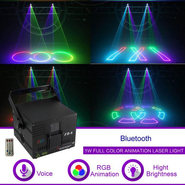 1W DMX512 ILDA Bluetooth RGB Animazione Fascio modello Laser Proiettore Luce DJ Party Show Gig Nightclub Illuminazione professionale da palco FB6-APP