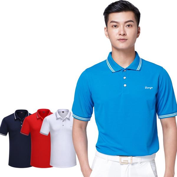 New Design Men's Short Sleeve Golf Tee Shirt Sportswear Training Apparel Breathable Golf Shirts Quick-Dry Tops D0665