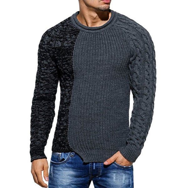 Men Sweaters 2019 Pullover New Autumn Warm High-quality Patchwork Sweaters Man Casual Knitwear Winter Men Black Sweatwer