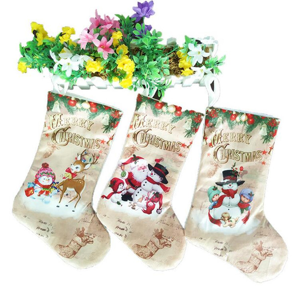 top popular Creative Christmas Stockings Santa Claus Snowman Elck Christmas Tree Ornaments Home Party Decoration Children Candy Bags Gifts 2019