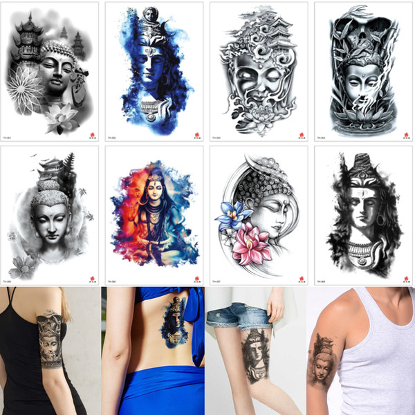 Professional Buddha Waterproof Temporary Body Transfer Tattoo Design