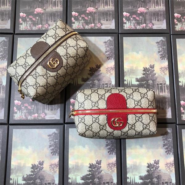 Estuche cosmético para mujer Bolso cosmético de lujo Diseñador Hibiscus rojo con textura de cuero Para mujer lienzo bolsillo con cremallera