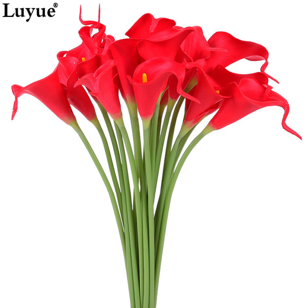 Luyue 20pcs Real Touch Lily Calla PU Artificial Flowers Bouquets Home Wedding Bridal Flower wedding Decorative Flowers & Wreaths C18112601