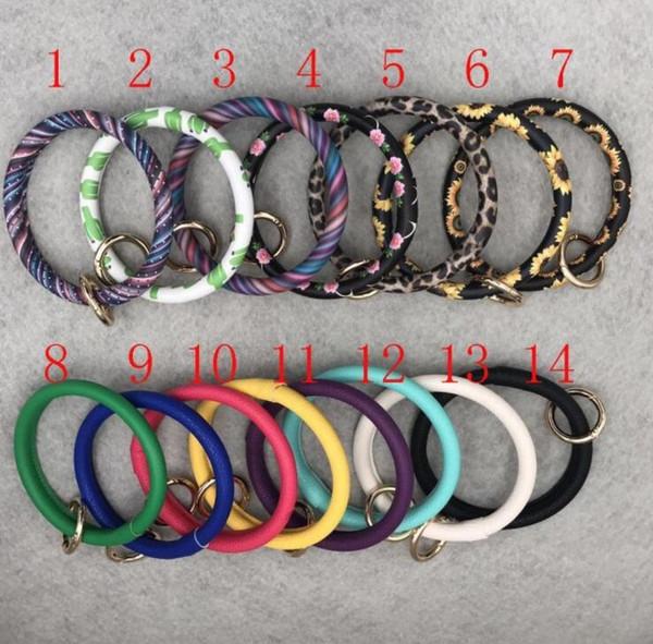 top popular Leather Bracelet Keychain Personalized Sunflower Serape Leopard Leather Bracelets Keychains O Key Ring Circle Bracelet Wristlet Keychain 2020