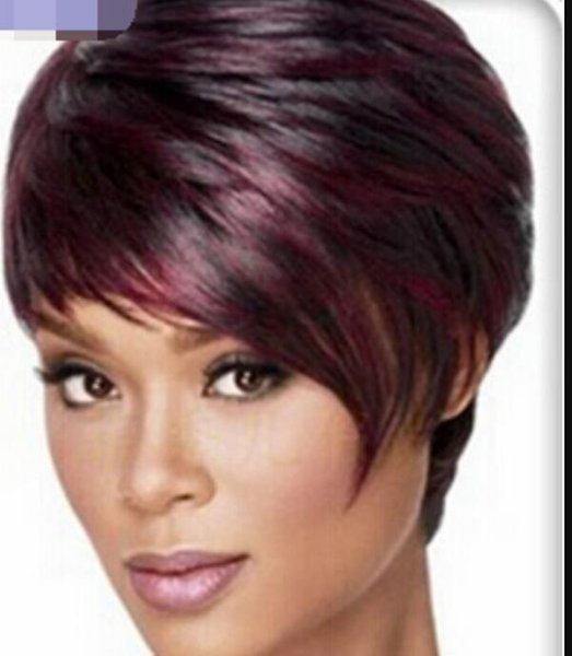 WBY dd003414 Art- und Weisefrauen-Dame Short Straight Mixed Wine Red Full Hair Perücken