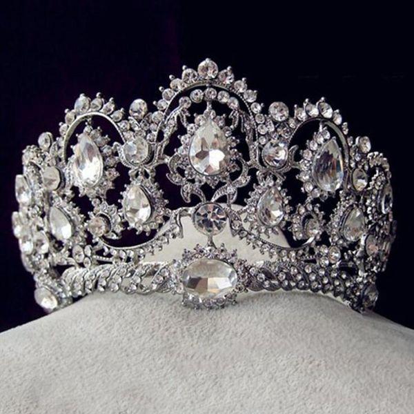Europäische Vintage Tiaras Silber Brautschmuck Quinceanera Strass Kristallkronen Pageant Hochzeit Haarschmuck Für Bräute T190620