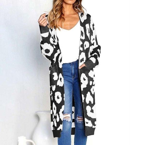 sweaters woman sweater women leopard print long cardigans winter clothes women open stitch applique autumn pockets slim sweater coat