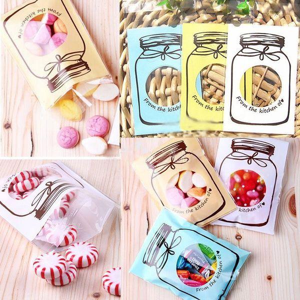 100 PCS Party Supplies Favores de la boda Caja de galletas de plástico transparente Patrón de botella Bolsa de dulces autoadhesiva Bolsa de regalo para niños