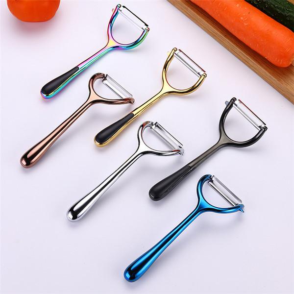 Nuovo coltello da cucina in acciaio inossidabile e pialla per melone in lega di zinco pelapatate attrezzo da cucina per casa pelapatate creativo pialla in melone dorato T3I5163