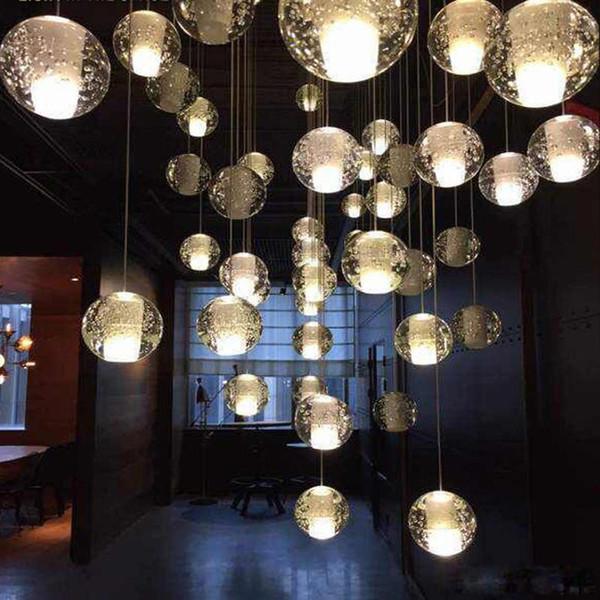 G4 LED Crystal Glass Ball Pendant Lamp Meteor Rain Ceiling Light Meteoric Shower Stair Bar Droplight Chandelier Lighting AC110V-240V