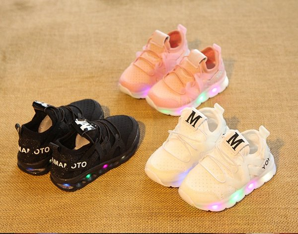2019 lamp shoe sportswear lamp net cloth leisure shoes Lycra stretch cloth breathable LED flashlight sneakers