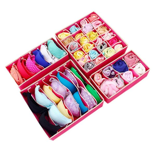 4PCS Foldable Storage Boxes For Ties Socks Shorts Bra Underwear Socks Divider Drawer Lidded Closet Organizer