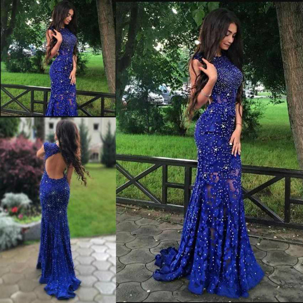 Sexy Backless Blue Lace Mermaid Prom Dresses Long Formal Party Evening Dress With Beaded Floor Length Jewel Arabic Gowns paolo sebastian