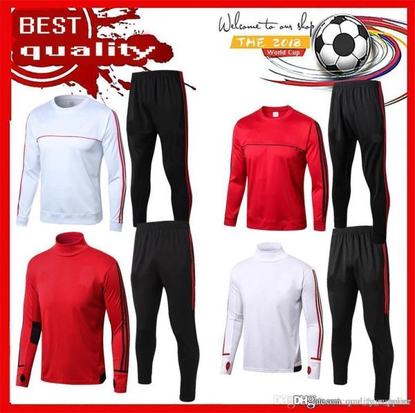 AAA+ New 2018 2019 AC Milan football Training suit 18 19 HIGUAIN CALHANOGLU BONUCCI Full soccer jerseys sportswear set tracksuit Chandal