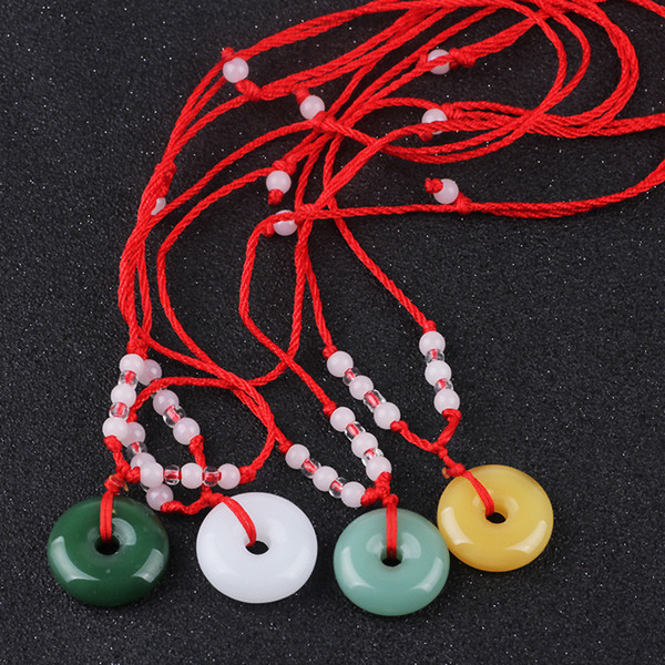Traditional Glass Peace Buckle Pendant Round Lucky red rope Beaded Necklace for men women Children
