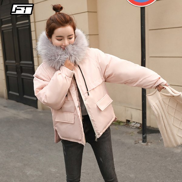 fitaylor faux fur collar short parkas loose down cotton coats winter women hooded jackets pink black burgundy snow outwear y190926